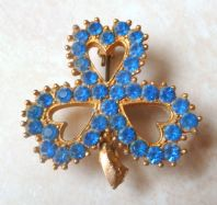 Vintage Blue Rhinestone Irish Shamrock Brooch